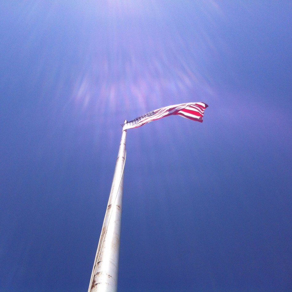 The flag at Fort Revere on May 24, 2015